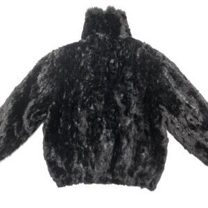 Jet Black Mink Fur Bomber Jacket