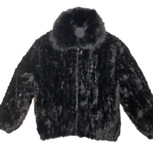 Jet Black Mink Fur Bomber Jacket