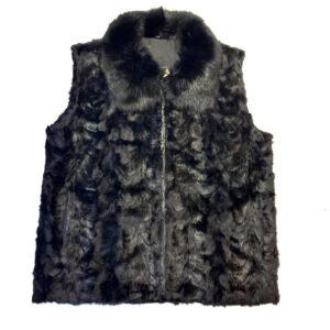 Men's Black Mink Fur Fox Collar Vest
