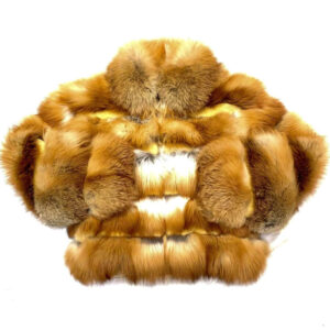 Men's Cognac Spliced Fox Fur Coat