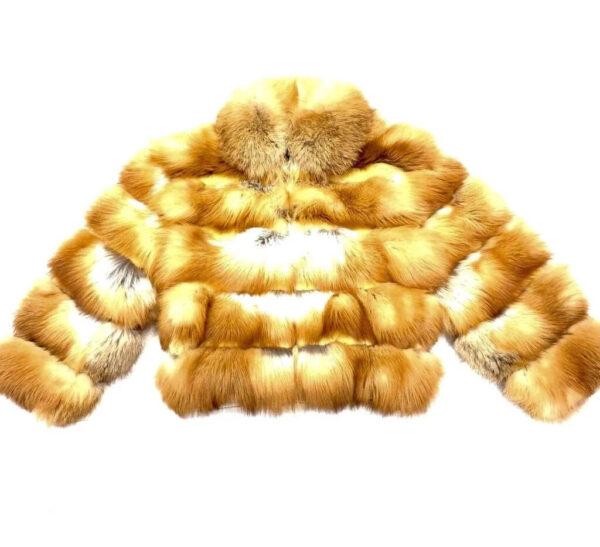 Men's Cognac Spliced Fox Fur Coat
