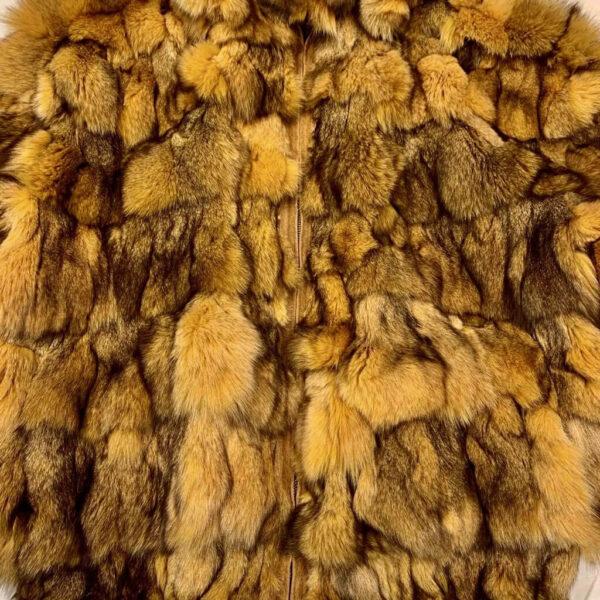 Men's Honey Comb Hooded Fox Fur Coat