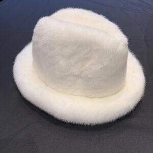 Men's White Full Mink Fur Top Hat