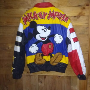 Mickey Mouse Too Cute Vintage 90's Leather JacketMickey Mouse Too Cute Vintage 90's Leather Jacket