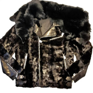 Mink Black Detachable Fox Collar Biker Jacket