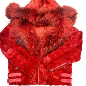 Mink Red Detachable Fox Collar Biker Jacket
