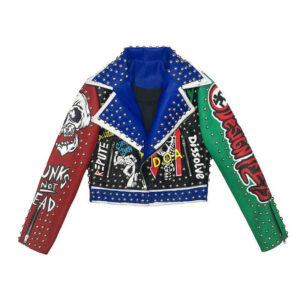 Multi-Color Punk Rock Crop Studded Leather Jacket
