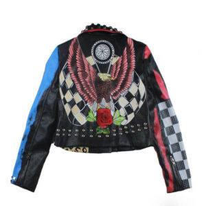 Multi-Color Punk Rock Studded Leather Jacket