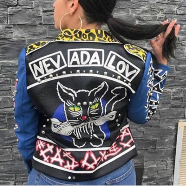 Multi-Color Punk Style Studded Leather Jacket