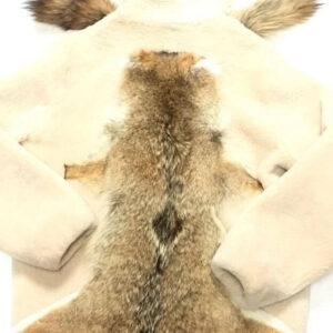 Natural Plush Fox Tail Shearling Jacket With Hood