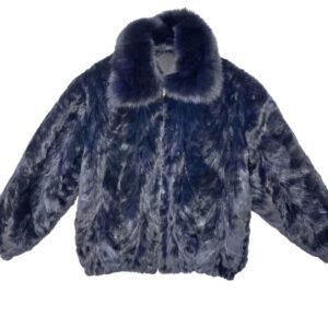 Navy Blue Mink Fur Bomber Jacket
