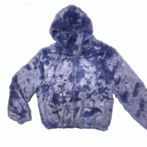 Navy Blue Rabbit Fur Hooded Bomber Jacket