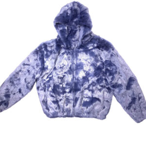 Navy Blue Rabbit Fur Hooded Bomber Jacket