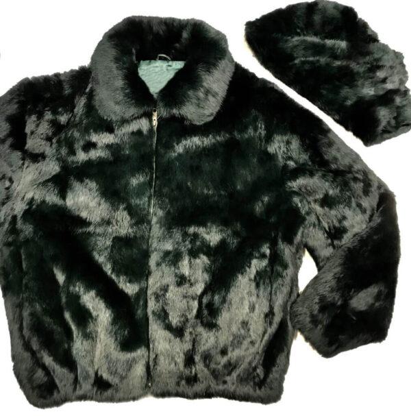 Olive Green Rabbit Fur Hooded Bomber Jacket