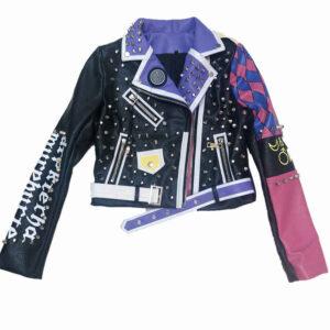 Purple Punk Rock Rivets Studded Leather Jacket