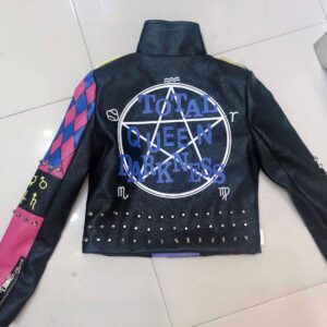 Purple Punk Rock Rivets Studded Leather Jacket