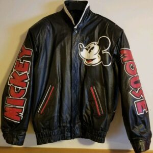 RARE 90s Mickey Mouse Black Leather Bomber Jacket