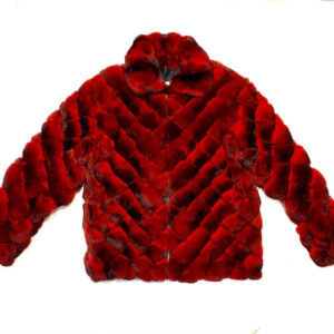 Red Black Diamond Cut Full Chinchilla Coat