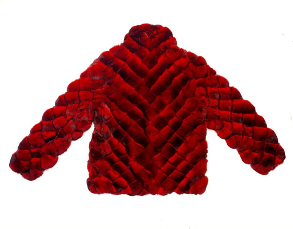 Red Black Diamond Cut Full Chinchilla Coat
