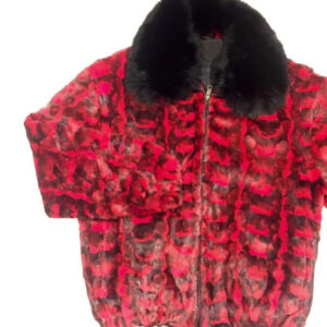 Red Diamond Cut Mink Bomber Fur Jacket
