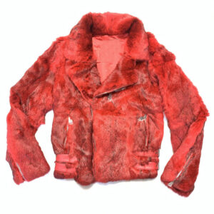 Red Rabbit Fur Biker Jacket