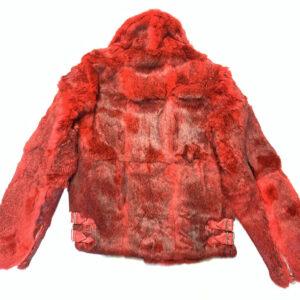 Red Rabbit Fur Biker Jacket