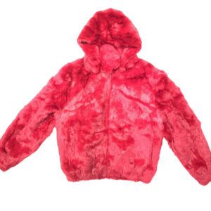 Red Rabbit Fur Hooded Bomber Jacket
