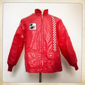 Red Vintage Ford Mustang Cobra Checkerboard Jacket