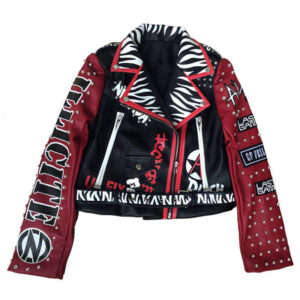 Red and Black Print Cropped Studded Leather Jacket
