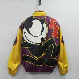 Vintage 90s Felix The Cat Cartoon Leather Jacket