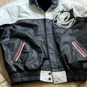 Vintage 90s Felix The Cat Leather Cartoon Jacket