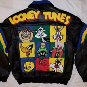 Vintage 90s Looney Tunes Leather Bomber Jacket