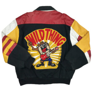 Vintage 90s Taz Wild Thing Jeff Hamilton Leather Jacket