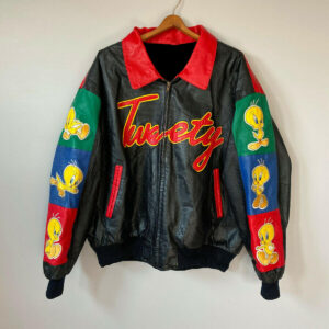 Vintage 90s Tweety Bird Looney Tunes Leather Jacket