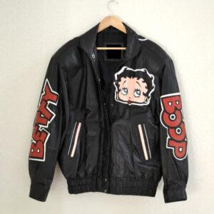 Vintage Black Betty Boop Cartoon Leather Jacket