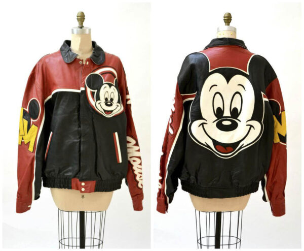 Vintage Mickey Mouse Bomber Leather Jacket