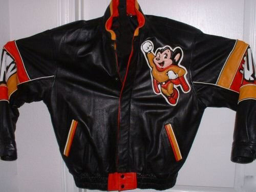 Vintage Mighty Mouse Super Hero Cartoon Leather Jacket