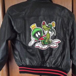 Vintage Space Jam Marvin Martian Leather Jacket