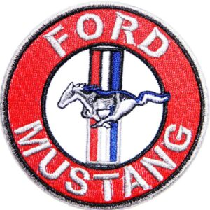 Vintage Style Ford Mustang Car Racing Logo Patch