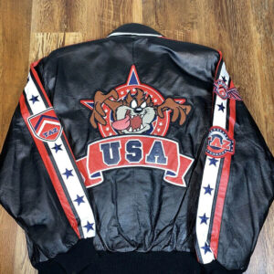 Vintage Taz USA Looney Tunes Cartoon Stars Stripes Leather Jacket