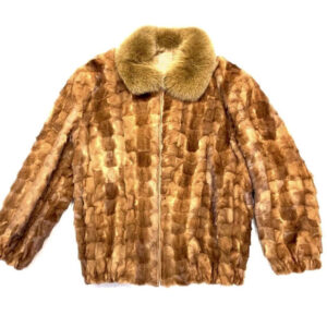 Whiskey Diamond Cut Mink Fox Collar Coat