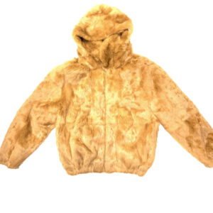 Whisky Rabbit Fur Hooded Bomber Jacket