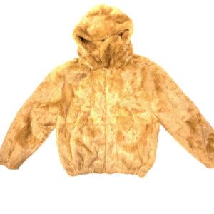 Whisky Rabbit Fur Hooded Bomber Jacket