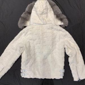 White Mink Diamond Cut Hooded Silver Fox Jacket