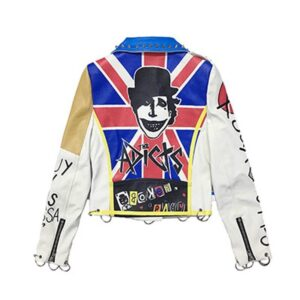 White Punk Rock Fashion Studded Leather Jacket