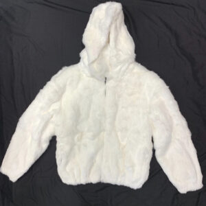 White Rabbit Fur Hooded Bomber Jacket