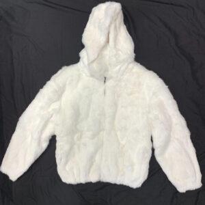 White Rabbit Fur Hooded Bomber Jacket