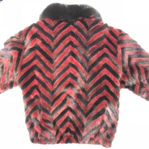 Wine Red Black Mink Tail Fur Jacket