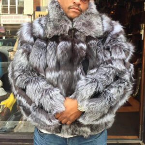 Winter Full Silver Fox Bomber Fur Jacket