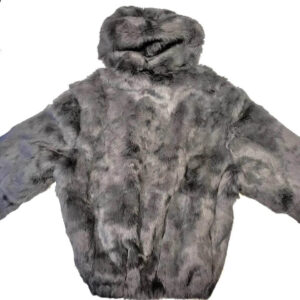 Winter Gray Rabbit Fur Hooded Jacket